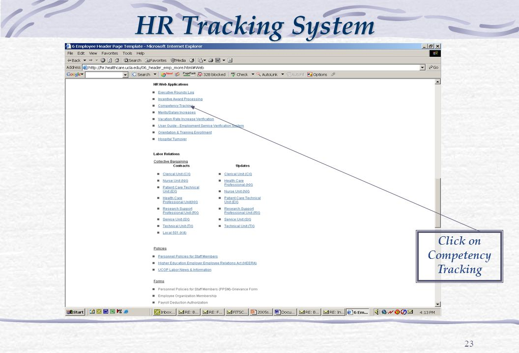 23 HR Tracking System Click on Competency Tracking