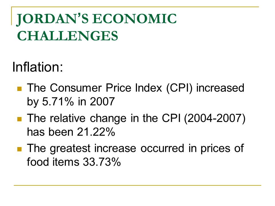 JORDAN ' S ECONOMIC CHALLENGES Besides