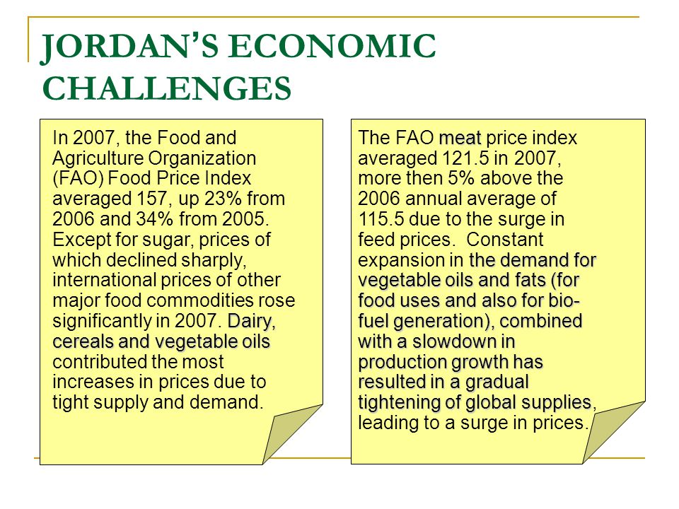 JORDAN ' S ECONOMIC CHALLENGES In the short term, free floating...
