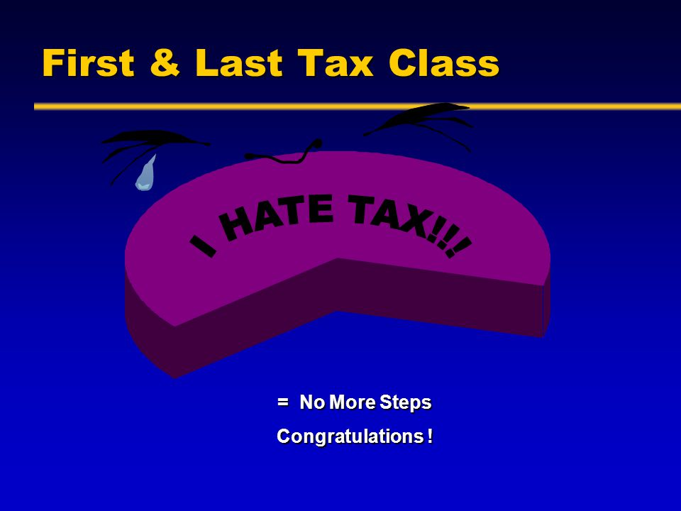 First Tax Class Seriously – an eye opener First time in law school where you get a real answer in class --Not usually—It depends or what do you think.