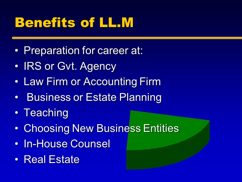 Benefits of LL.M Preparation for career at:Preparation for career at: IRS or Gvt.