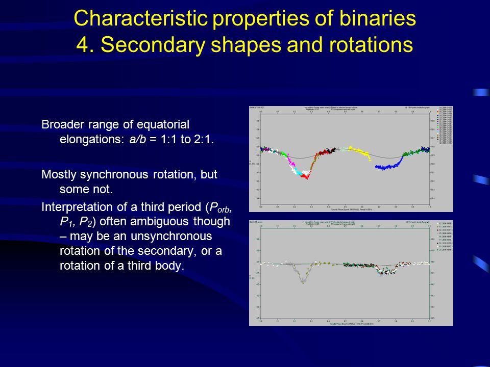 Characteristic properties of binaries 4.