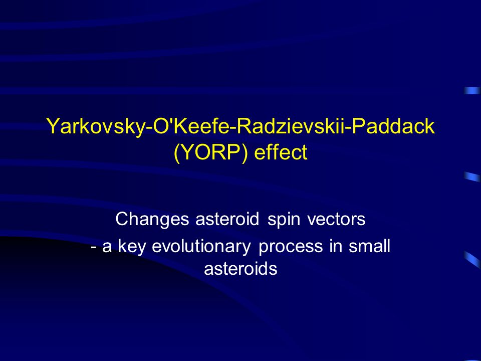 Yarkovsky-O Keefe-Radzievskii-Paddack (YORP) effect Changes asteroid spin vectors - a key evolutionary process in small asteroids