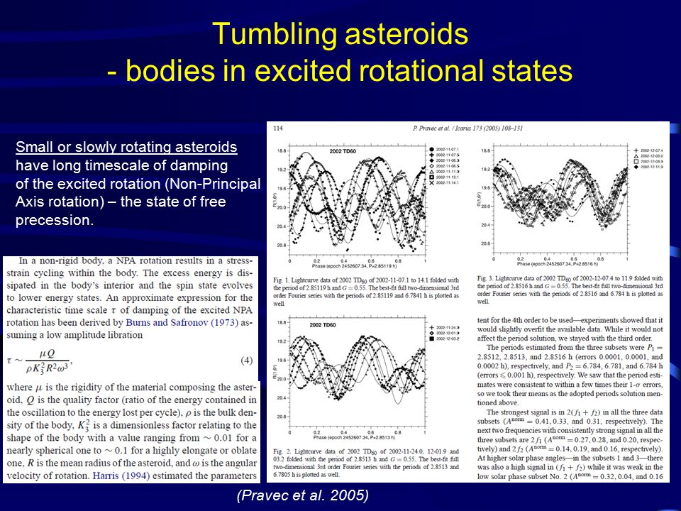 Tumbling asteroids - bodies in excited rotational states (Pravec et al.