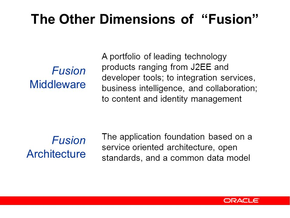 A portfolio of leading technology products ranging from J2EE and developer tools; to integration services, business intelligence, and collaboration; to content and identity management Fusion Middleware Fusion Architecture The application foundation based on a service oriented architecture, open standards, and a common data model The Other Dimensions of Fusion