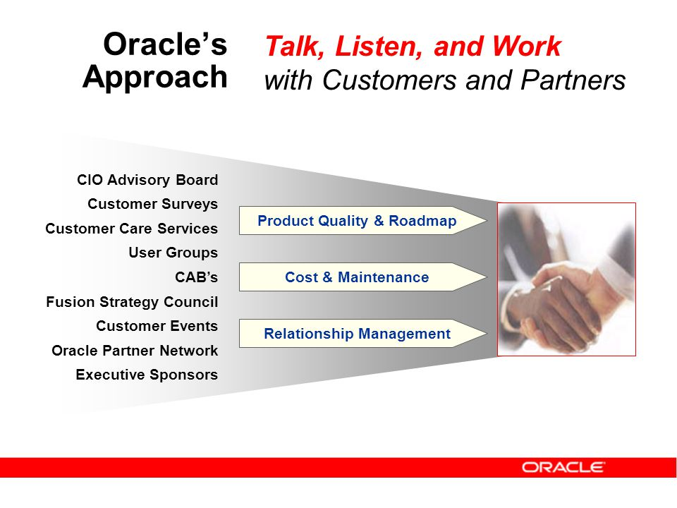 CIO Advisory Board Customer Surveys Customer Care Services User Groups CAB's Fusion Strategy Council Customer Events Oracle Partner Network Executive Sponsors Product Quality & Roadmap Cost & Maintenance Relationship Management Talk, Listen, and Work with Customers and Partners Oracle's Approach
