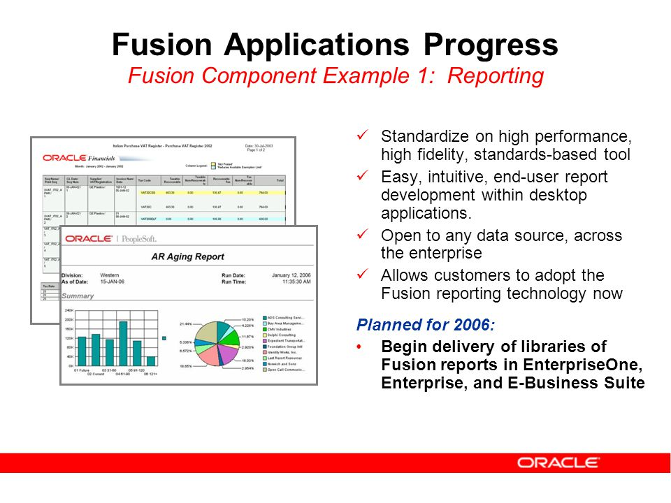Fusion Applications Progress Fusion Component Example 1: Reporting Standardize on high performance, high fidelity, standards-based tool Easy, intuitive, end-user report development within desktop applications.
