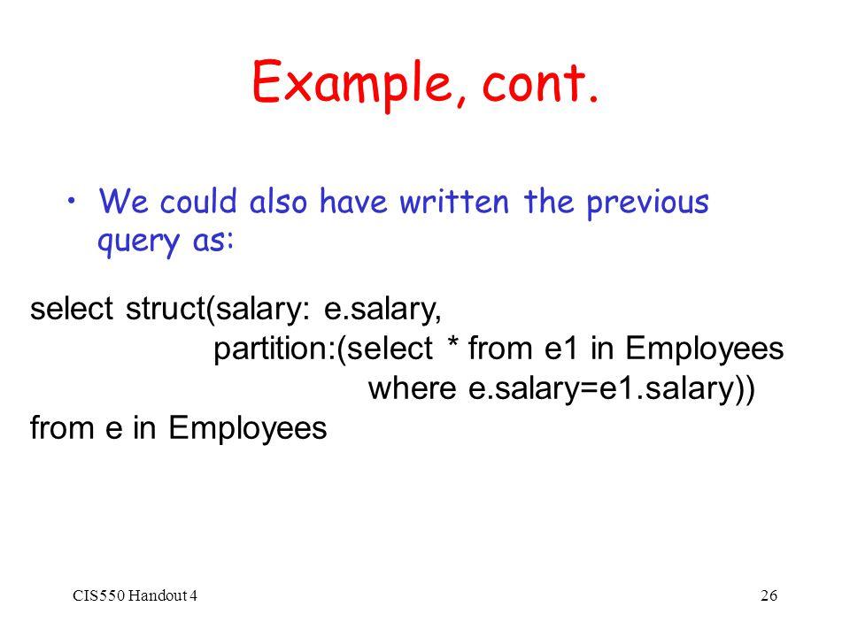 CIS550 Handout 426 Example, cont.