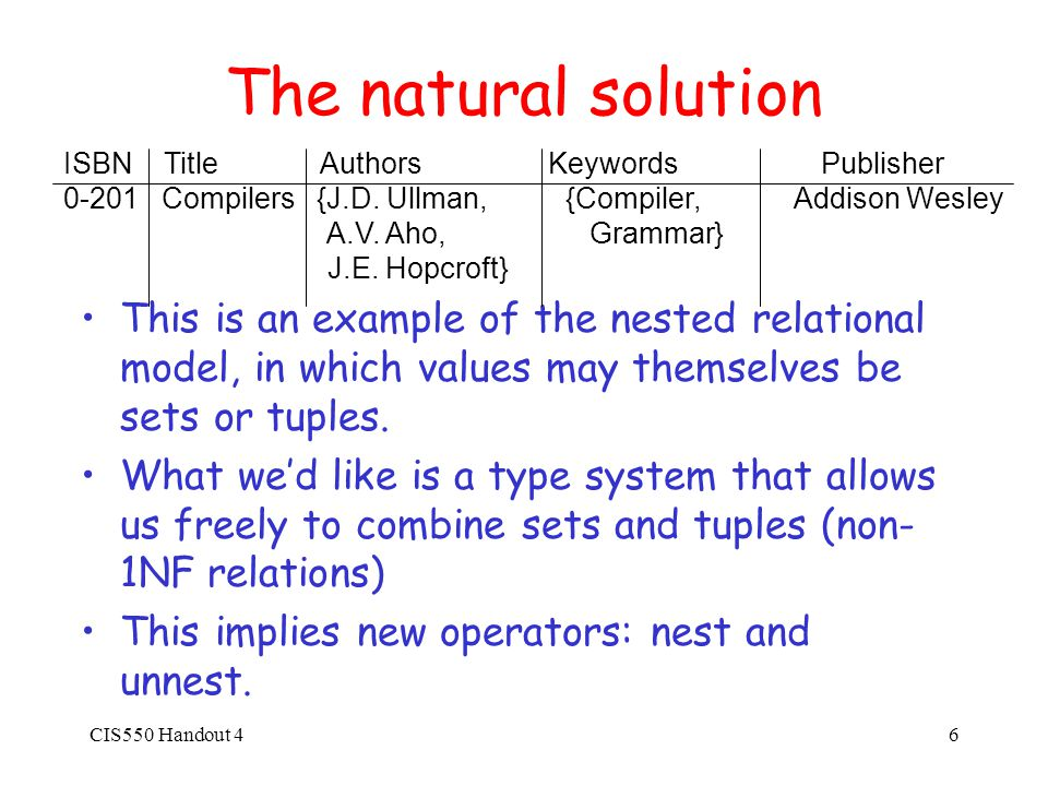 CIS550 Handout 47 Unnest Given nested relation R on the previous slide, we can unnest on one of the set- valued fields: ISBN Title Author Keyword Publisher 0-201 Compilers J.D.
