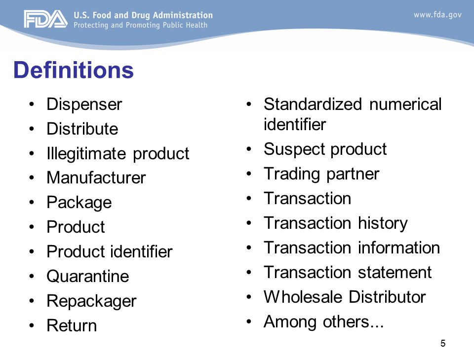 Definitions: Scope Product What's covered: –Prescription drug in finished dosage form for administration to a patient without further manufacturing (such as capsules, tablets, lyophilized products before reconstitution) What's not covered: –Blood or blood components intended for transfusion –Radioactive drugs or biologics –Imaging drugs –Certain IV products –Medical gas –Homeopathic drugs –Lawfully compounded drugs Transaction Transfer of product where a change of ownership occurs Exempt –Intercompany distributions –Distribution among hospitals under common control –Public health emergencies –Dispensed pursuant to a prescription –Product sample distribution –Blood and blood components for transfusion –Minimal quantities by a licensed pharmacy to a licensed practitioner –Charitable organizations –Distributions pursuant to a merger or sale –Certain combination products –Certain medical kits –Certain IV products –Medical gas distribution –Approved animal drugs 6