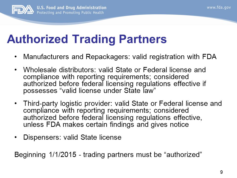 Authorized Trading Partners Manufacturers and Repackagers: valid registration with FDA Wholesale distributors: valid State or Federal license and comp