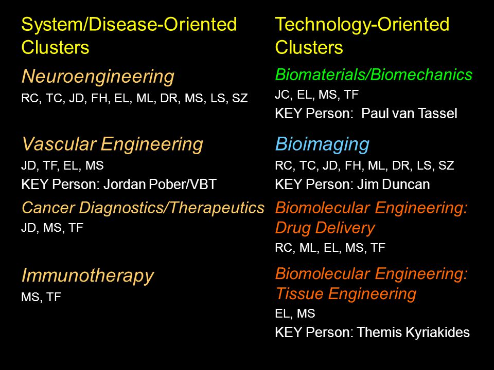 System/Disease-Oriented Clusters Technology-Oriented Clusters Neuroengineering RC, TC, JD, FH, EL, ML, DR, MS, LS, SZ Biomaterials/Biomechanics JC, EL, MS, TF KEY Person: Paul van Tassel Vascular Engineering JD, TF, EL, MS KEY Person: Jordan Pober/VBT Bioimaging RC, TC, JD, FH, ML, DR, LS, SZ KEY Person: Jim Duncan Cancer Diagnostics/Therapeutics JD, MS, TF Biomolecular Engineering: Drug Delivery RC, ML, EL, MS, TF Immunotherapy MS, TF Biomolecular Engineering: Tissue Engineering EL, MS KEY Person: Themis Kyriakides
