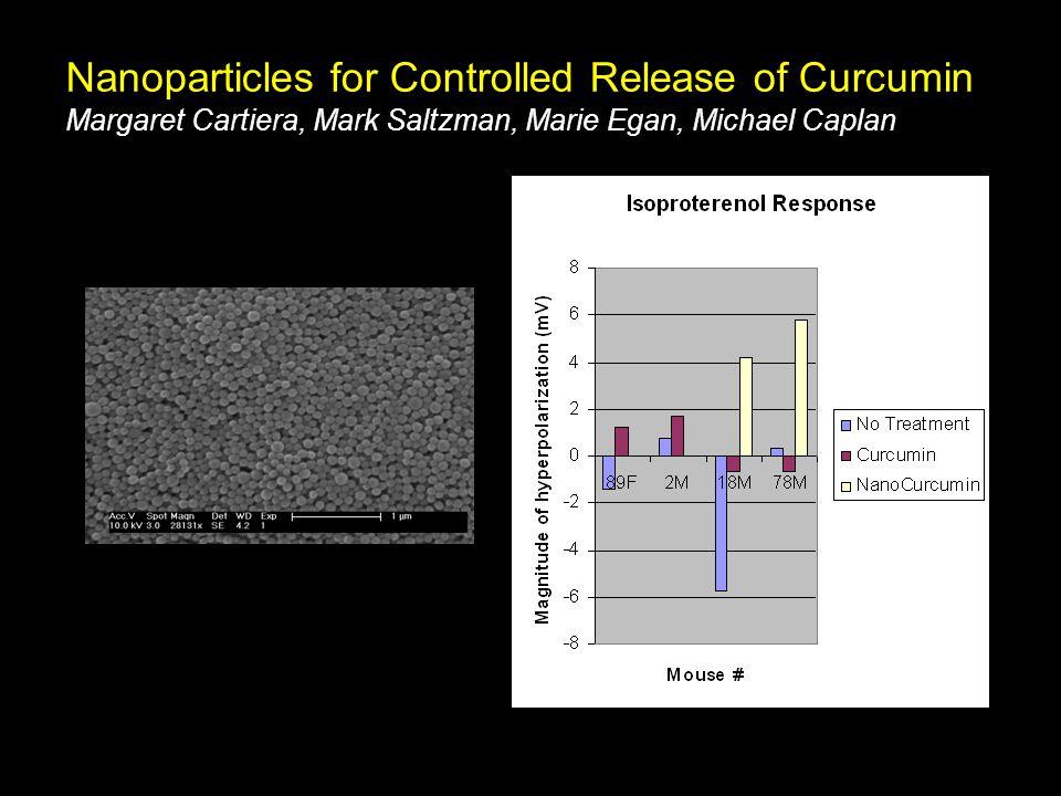 Nanoparticles for Controlled Release of Curcumin Margaret Cartiera, Mark Saltzman, Marie Egan, Michael Caplan