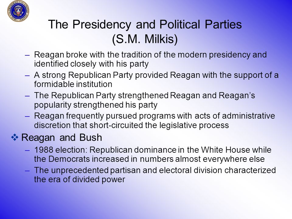 The Presidency and Political Parties (S.M.