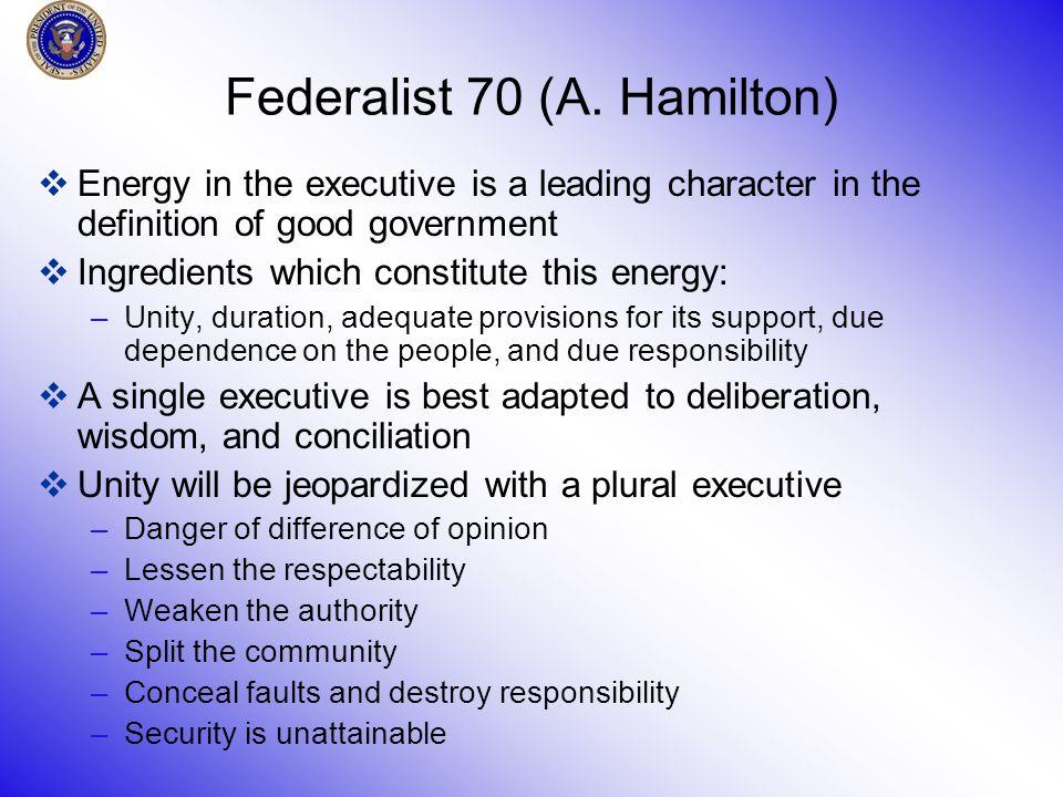 Federalist 70 (A.