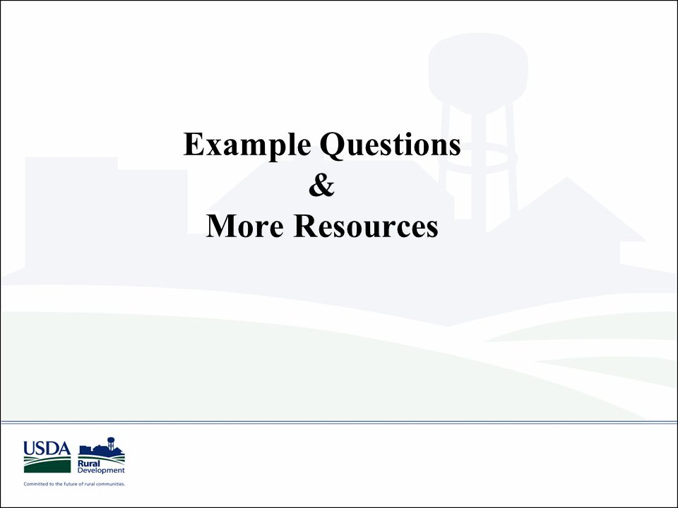Example Questions & More Resources