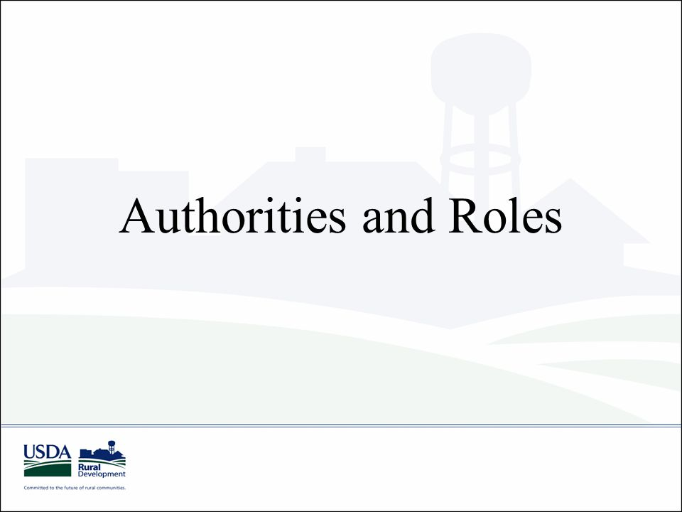 Authorities and Roles