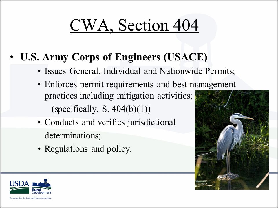 CWA, Section 404 U.S.