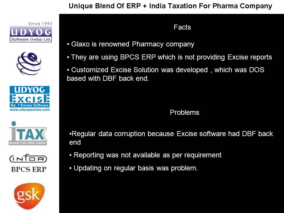 Glaxo is renowned Pharmacy company They are using BPCS ERP which is not providing Excise reports Customized Excise Solution was developed, which was D