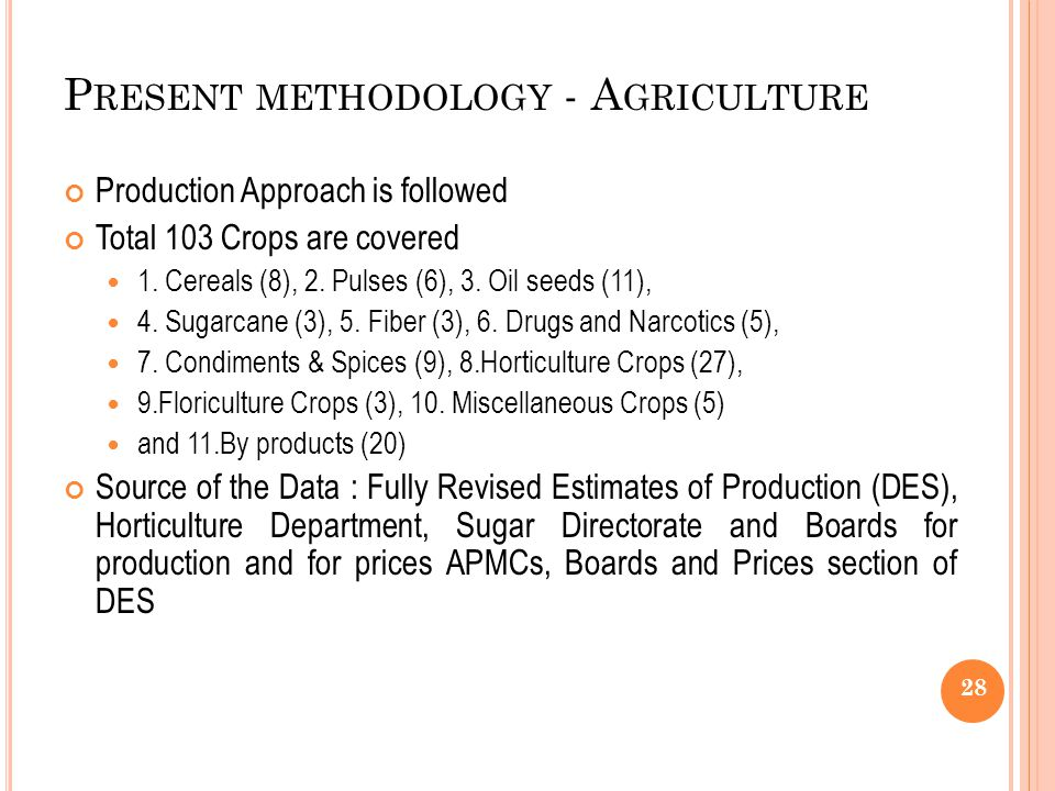 P RESENT METHODOLOGY - A GRICULTURE Production Approach is followed Total 103 Crops are covered 1.