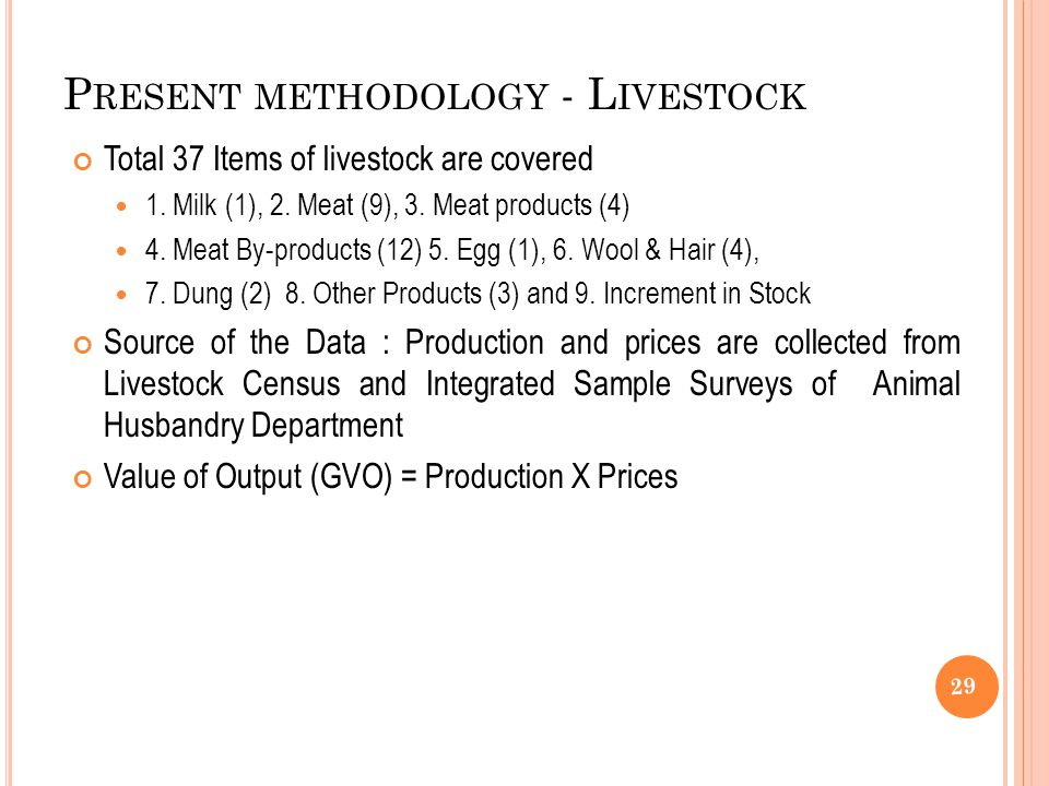 P RESENT METHODOLOGY - L IVESTOCK Total 37 Items of livestock are covered 1.