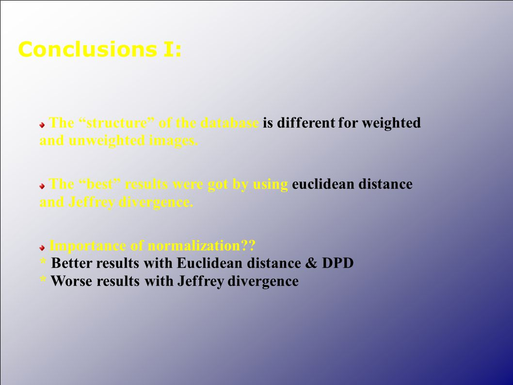 "Conclusions I: The ""structure"" of the database is different for weighted and unweighted images. The ""best"" results were got by using euclidean distanc"