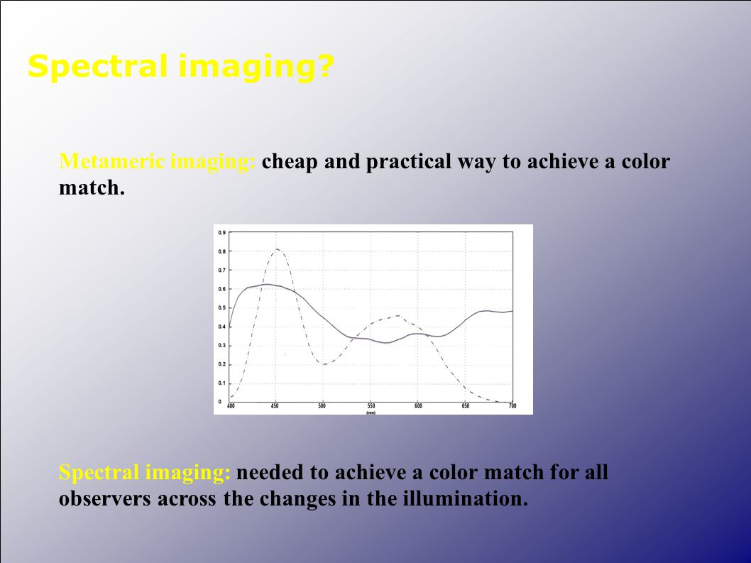 Spectral imaging? Metameric imaging: cheap and practical way to achieve a color match. Spectral imaging: needed to achieve a color match for all obser