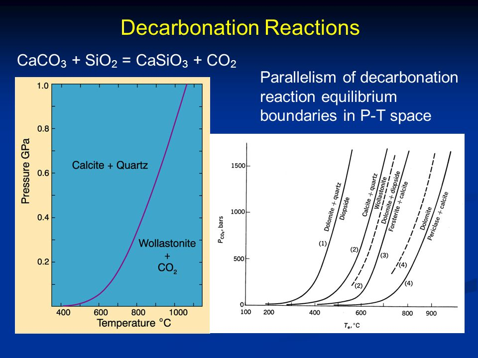 Decarbonation Reactions CaCO 3 + SiO 2 = CaSiO 3 + CO 2 Parallelism of decarbonation reaction equilibrium boundaries in P-T space