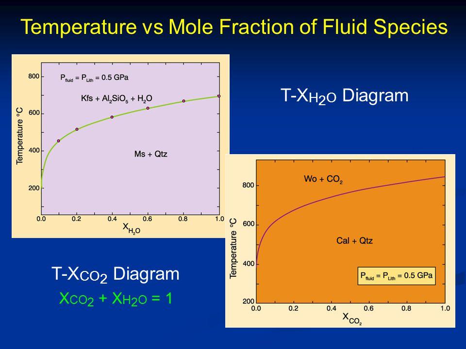 Temperature vs Mole Fraction of Fluid Species T-X H 2 O Diagram T-X CO 2 Diagram X CO 2 + X H 2 O = 1