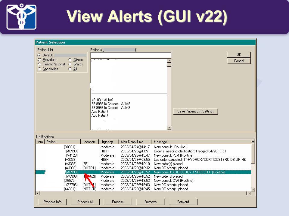 View Alerts (GUI v22)