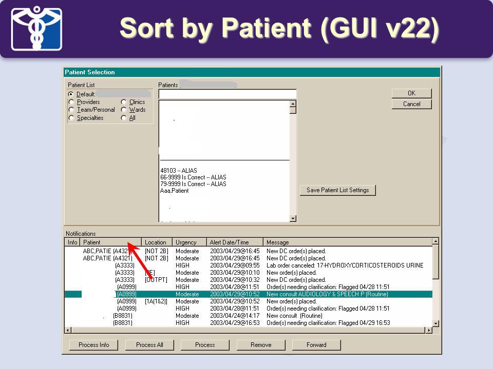 Sort by Patient (GUI v22)