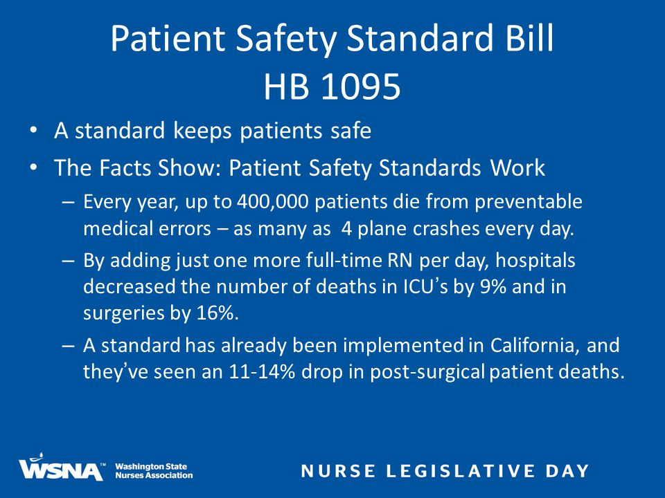 A standard keeps patients safe The Facts Show: Patient Safety Standards Work – Every year, up to 400,000 patients die from preventable medical errors – as many as 4 plane crashes every day.