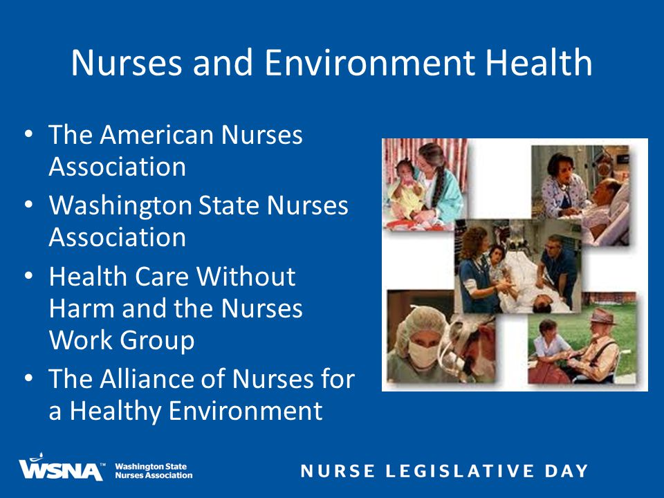 Nurses and Environment Health The American Nurses Association Washington State Nurses Association Health Care Without Harm and the Nurses Work Group T