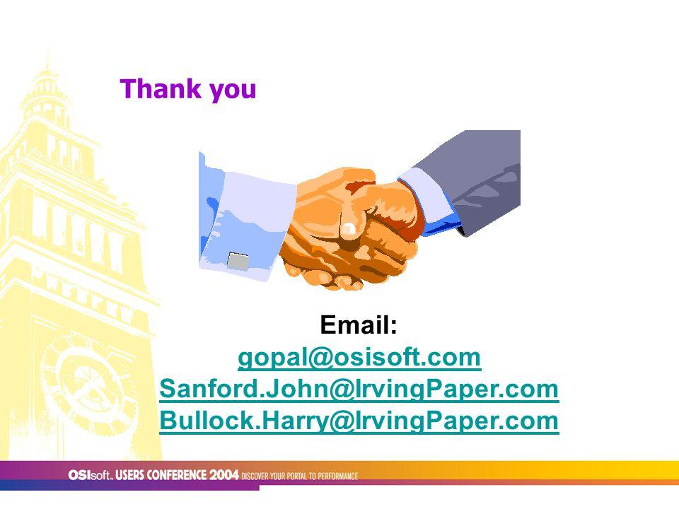 Thank you Email: gopal@osisoft.com Sanford.John@IrvingPaper.com Bullock.Harry@IrvingPaper.com