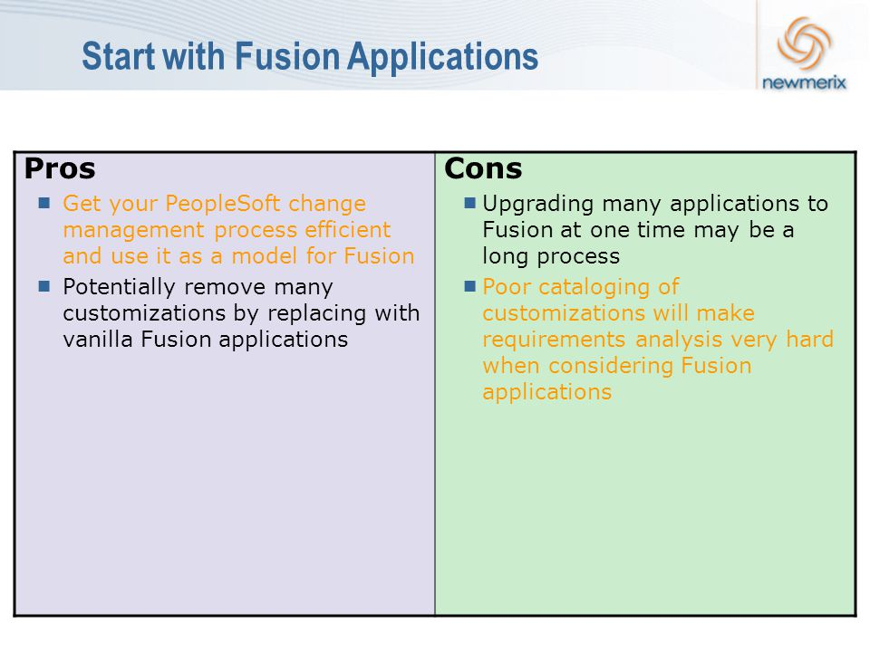 Start with Fusion Applications Pros  Get your PeopleSoft change management process efficient and use it as a model for Fusion  Potentially remove many customizations by replacing with vanilla Fusion applications Cons  Upgrading many applications to Fusion at one time may be a long process  Poor cataloging of customizations will make requirements analysis very hard when considering Fusion applications