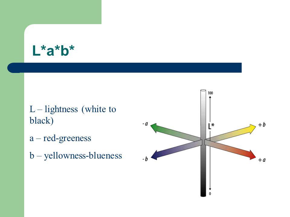 L*a*b* L – lightness (white to black) a – red-greeness b – yellowness-blueness