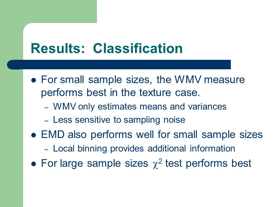 Results: Classification For small sample sizes, the WMV measure performs best in the texture case. – WMV only estimates means and variances – Less sen