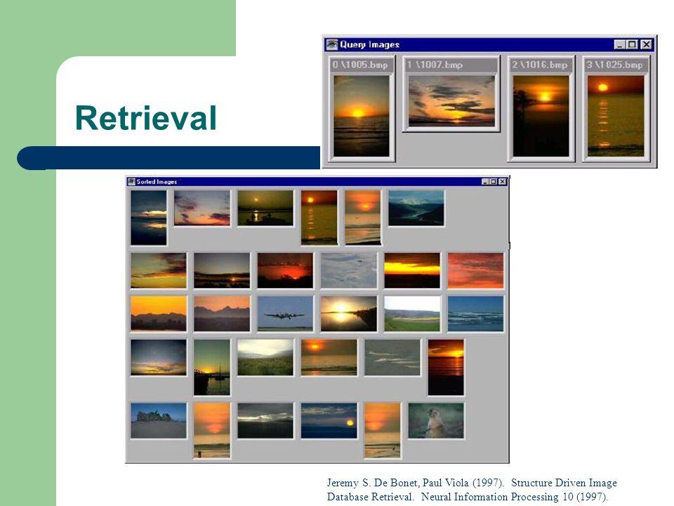 Retrieval Jeremy S. De Bonet, Paul Viola (1997). Structure Driven Image Database Retrieval. Neural Information Processing 10 (1997).