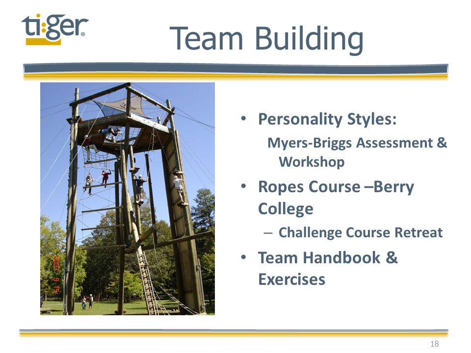 Personality Styles: Myers-Briggs Assessment & Workshop Ropes Course –Berry College – Challenge Course Retreat Team Handbook & Exercises 18 Team Buildi