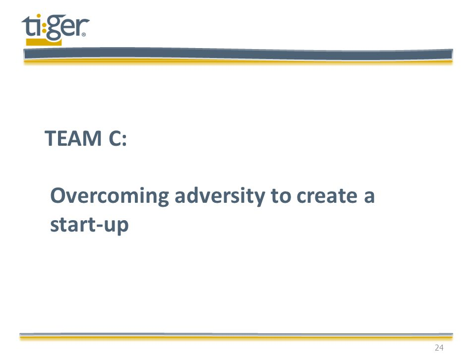 24 TEAM C: Overcoming adversity to create a start-up