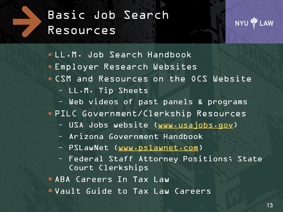 Basic Job Search Resources LL.M. Job Search Handbook Employer Research Websites CSM and Resources on the OCS Website –LL.M. Tip Sheets –Web videos of