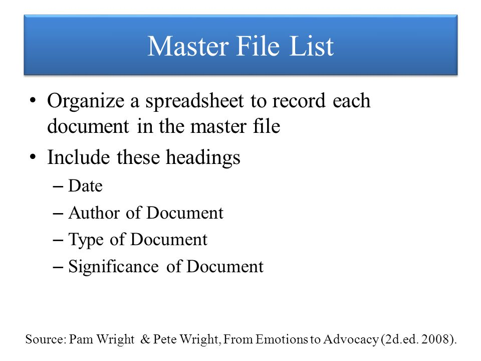 Master File List Organize a spreadsheet to record each document in the master file Include these headings – Date – Author of Document – Type of Document – Significance of Document Source: Pam Wright & Pete Wright, From Emotions to Advocacy (2d.ed.