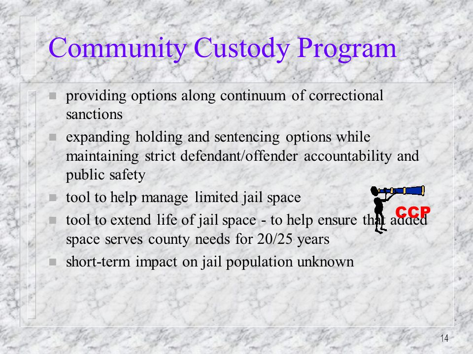 14 Community Custody Program n providing options along continuum of correctional sanctions n expanding holding and sentencing options while maintaining strict defendant/offender accountability and public safety n tool to help manage limited jail space n tool to extend life of jail space - to help ensure that added space serves county needs for 20/25 years n short-term impact on jail population unknown CCP