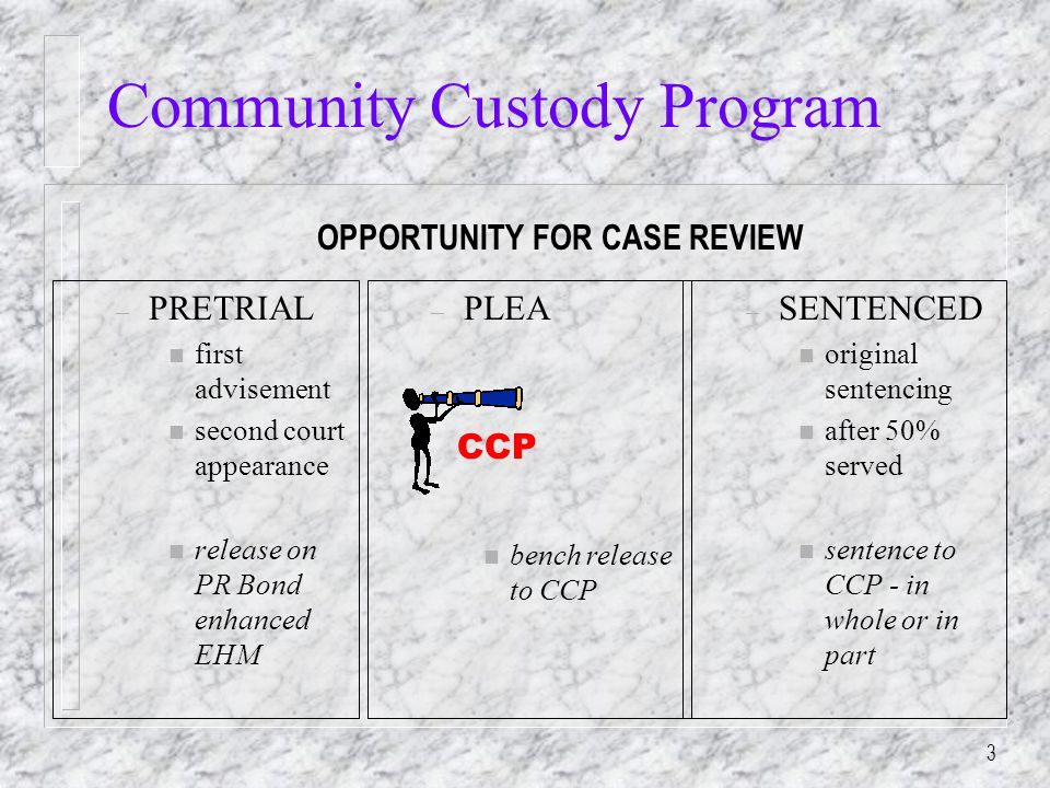3 – PRETRIAL n first advisement n second court appearance n release on PR Bond enhanced EHM – SENTENCED n original sentencing n after 50% served n sentence to CCP - in whole or in part OPPORTUNITY FOR CASE REVIEW CCP – PLEA n bench release to CCP Community Custody Program