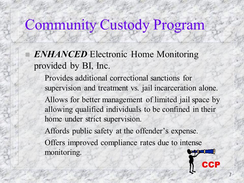 7 Community Custody Program n ENHANCED Electronic Home Monitoring provided by BI, Inc.
