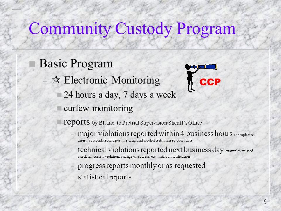 9 Community Custody Program n Basic Program –  Electronic Monitoring n 24 hours a day, 7 days a week n curfew monitoring n reports by BI, Inc.