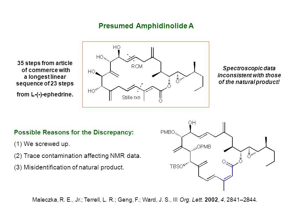 Presumed Amphidinolide A Maleczka, R. E., Jr.; Terrell, L. R.; Geng, F.; Ward, J. S., III Org. Lett. 2002, 4, 2841–2844. Possible Reasons for the Disc
