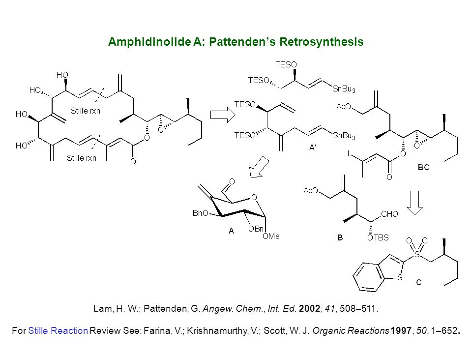 Amphidinolide A: Pattenden's Retrosynthesis Lam, H. W.; Pattenden, G. Angew. Chem., Int. Ed. 2002, 41, 508–511. For Stille Reaction Review See: Farina