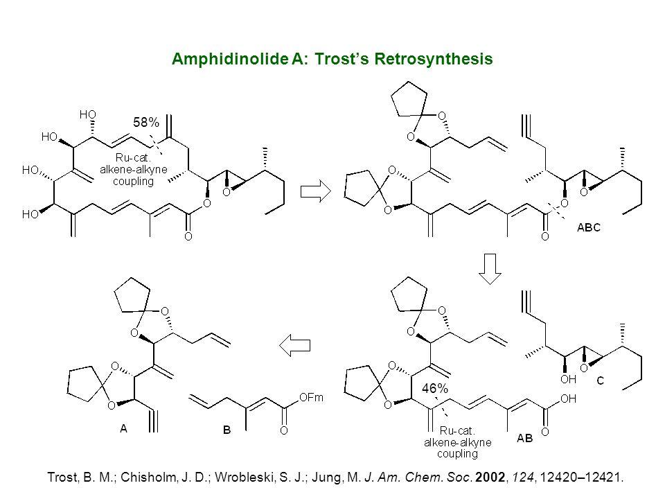 Amphidinolide A: Trost's Retrosynthesis Trost, B. M.; Chisholm, J. D.; Wrobleski, S. J.; Jung, M. J. Am. Chem. Soc. 2002, 124, 12420–12421. 46% 58%