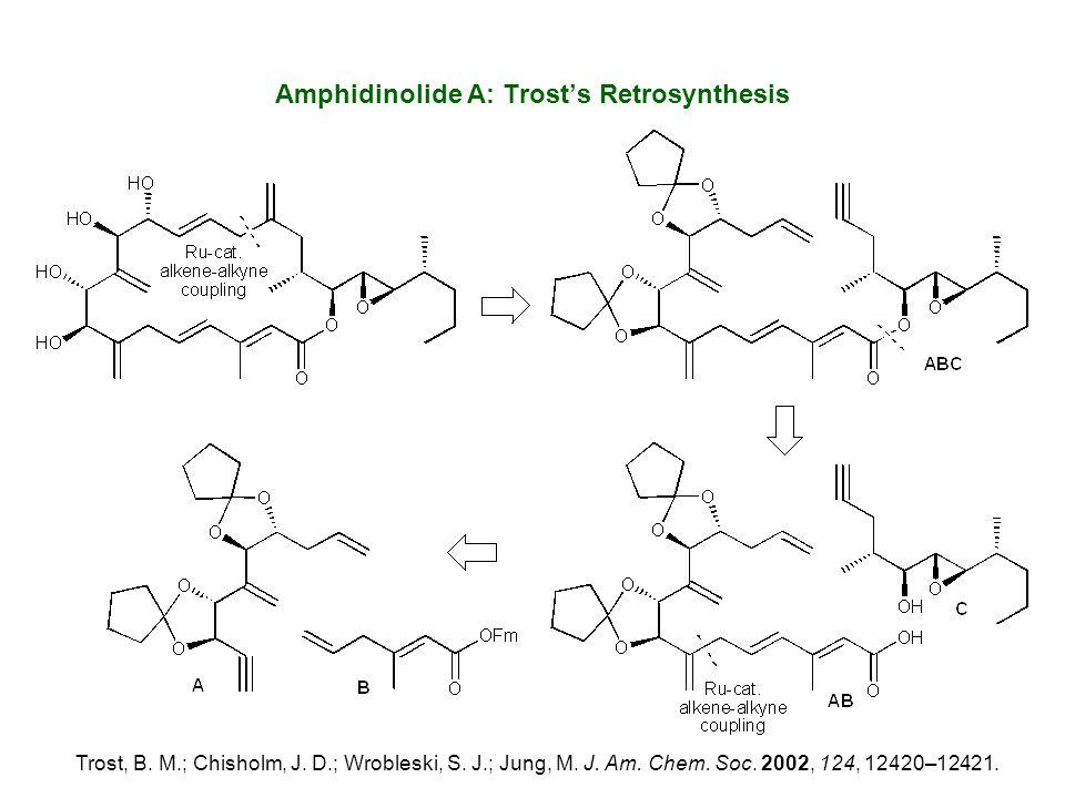 Amphidinolide A: Trost's Retrosynthesis Trost, B. M.; Chisholm, J. D.; Wrobleski, S. J.; Jung, M. J. Am. Chem. Soc. 2002, 124, 12420–12421.